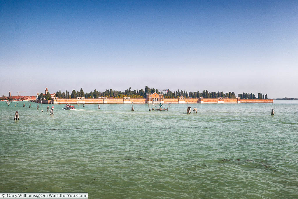 A view of the cemetery island of Venice from the quayside at Fondamente Nove