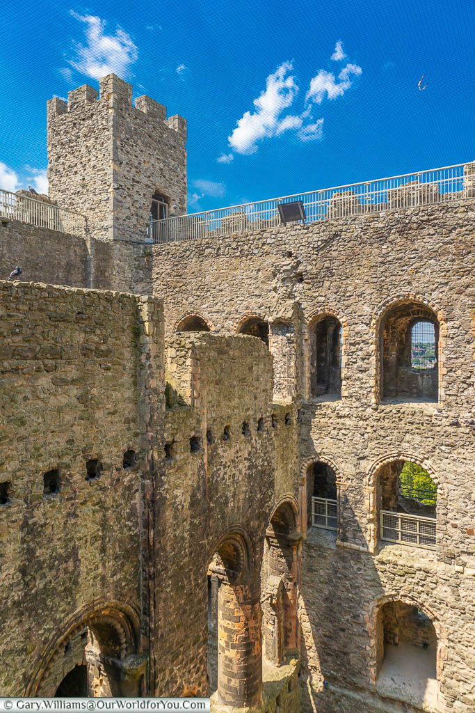 Looking inwards, from the upper levels to the remains of Rochester Castle