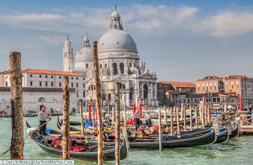 Gondoliers at the start of the day in front of the church of Santa Maria della Salute