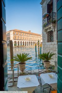 The view to our private patio area at the Al Ponte Antico Hotel in Venice, overlooking the Grand Canal