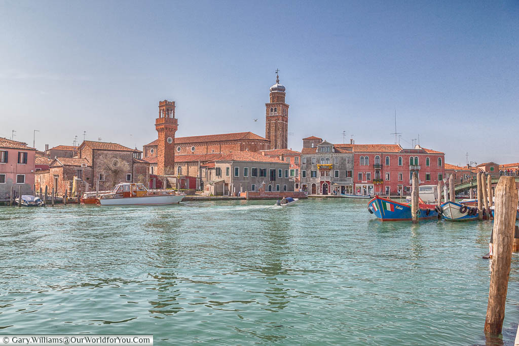 A view overlooking the Canal Grande di Murano towards San Pietro Martire on the island of Murano