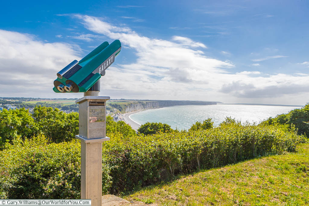 The public telescope styled like a science fiction rocket, high on the hillside above the Normandy coast at Fécamp.