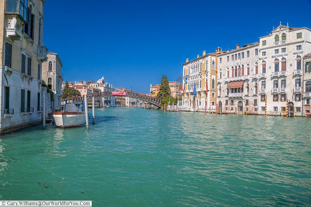 The view of the Grand Canal in Venice, line with beautiful Venetian architecture on the right as we look towards the Ponte dell'Accademia