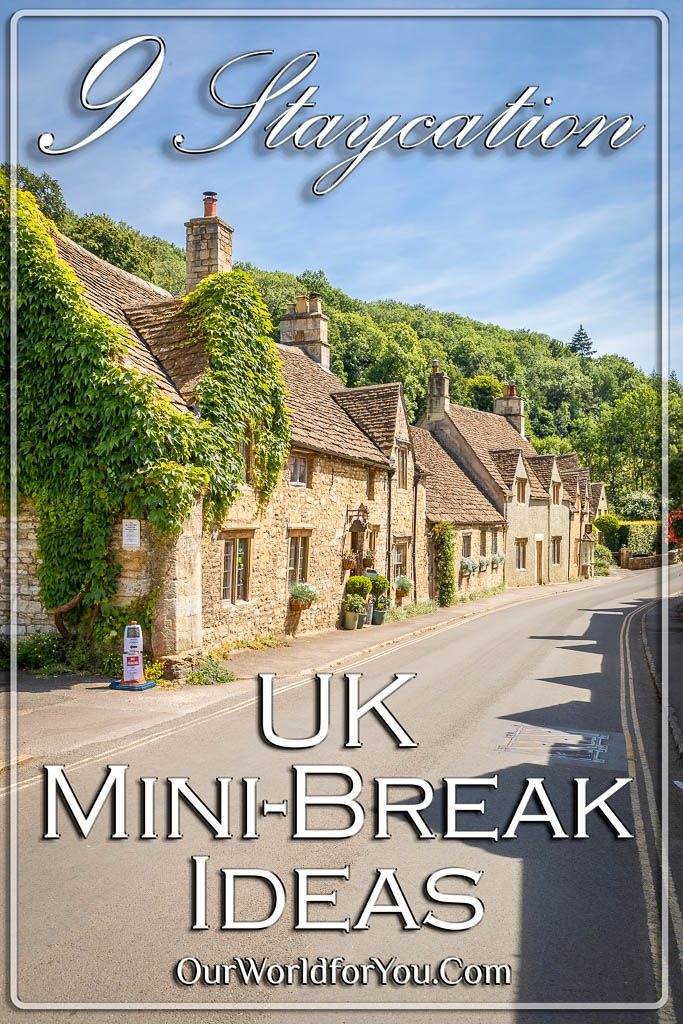 The Pin image for our post - '9 UK Staycation mini-break ideas'