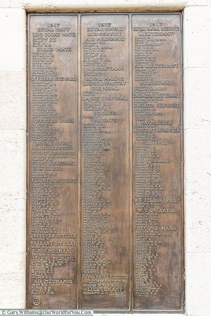 A brass plaque attached to the obelisk of the Chatham Naval Memorial detailing those who have no grave other than the sea.