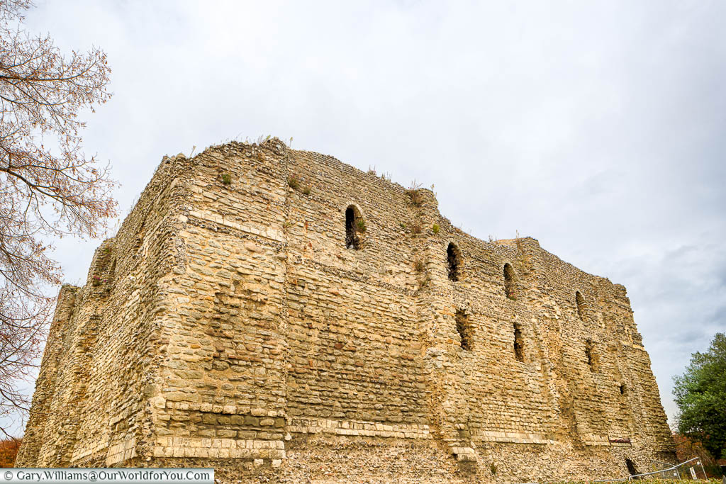 The stone exterior of the Norman Canterbury Castle