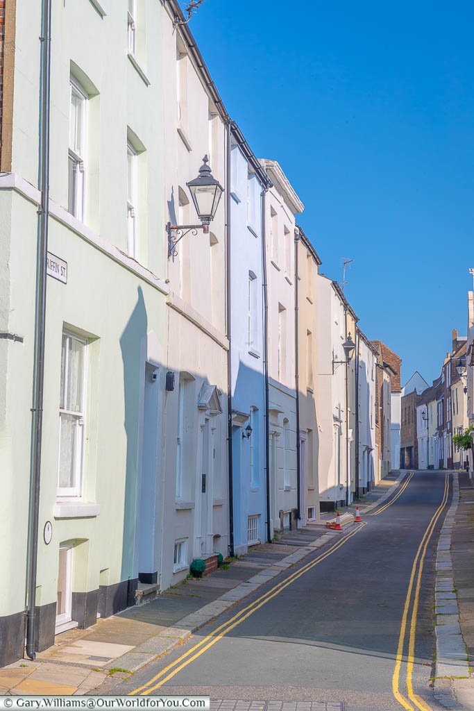 The soft pastel coloured building of Griffin Street in Deal