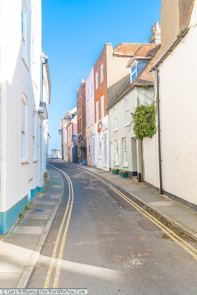 The narrow Farrier Street leading the the beach at Deal