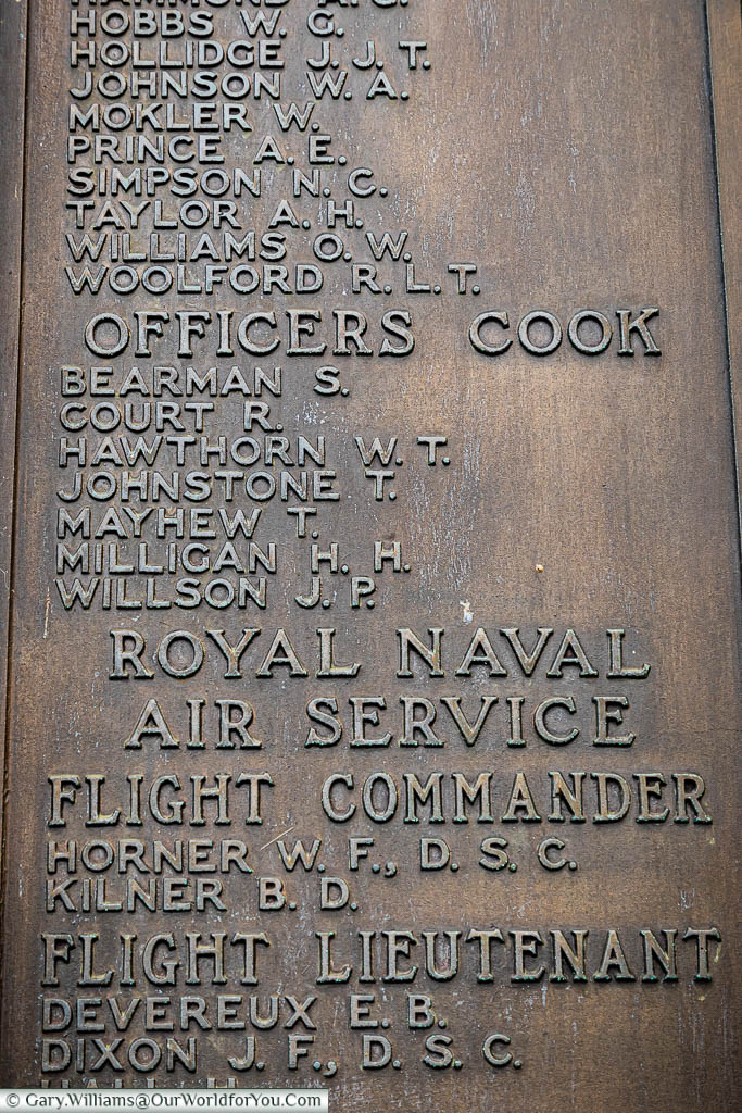 The brass plaque with the dedication to Hamilton Herries Milligan, Officers Cook, on the Chatham Naval Memorial in Kent