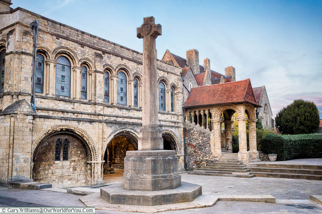 A stone cross in Memorial Court, King's School, Canterbury