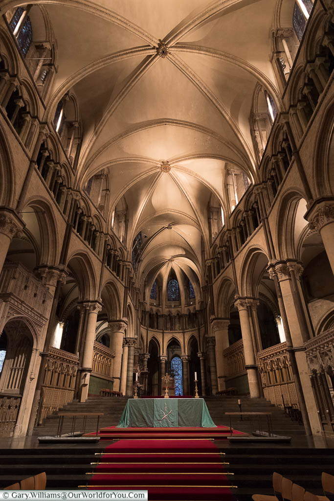 An interior view down the nave of Canterbury Cathedral in Kent