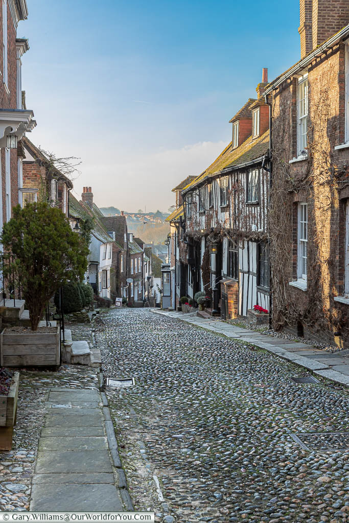 The view down the cobbled Mermaid Street in Rye, East Sussex