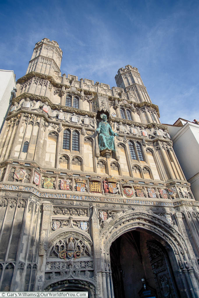 The ornate stone Christchurch gate entrance to the Canterbury Cathedral