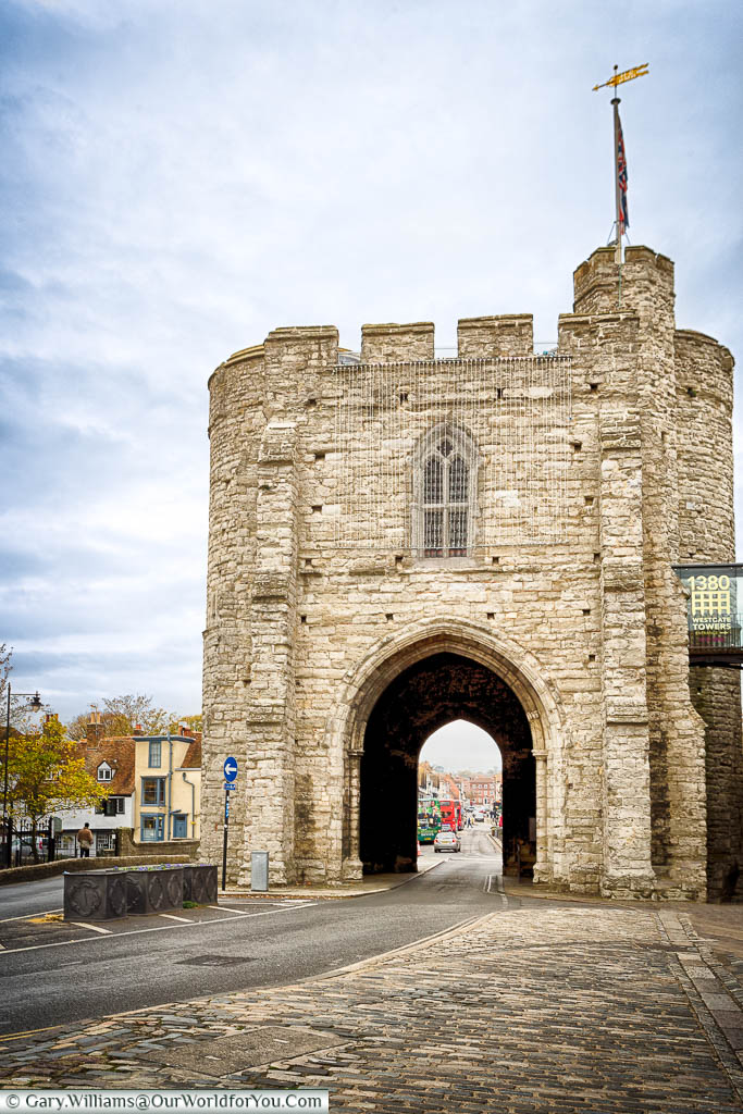 The stone Westgate medieval gatehouse in Canterbury