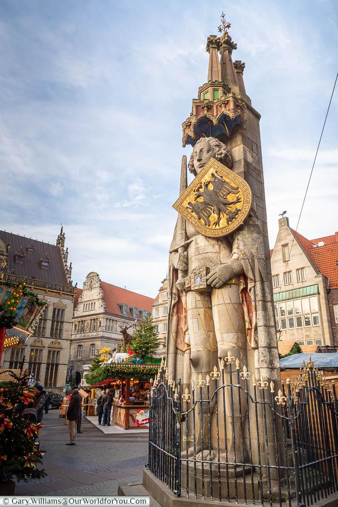 The Bremen Roland is a 15th century stone statue of Roland standing in Marktplatz, Bremen