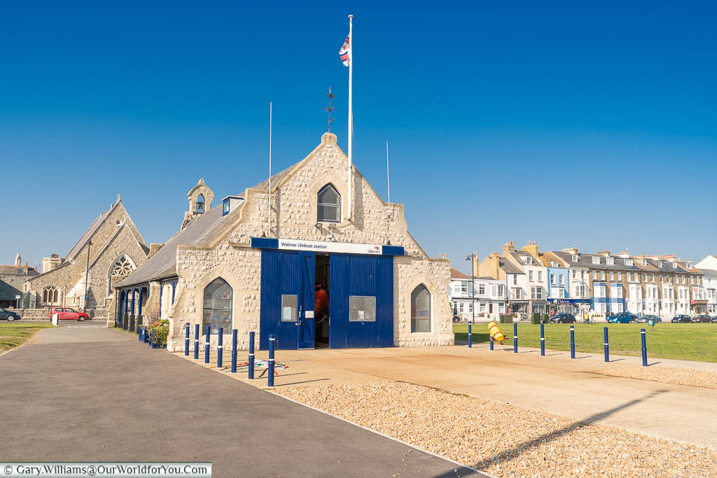 The mid 19th-century stone built Walmer lifeboat station opposite St Saviours Church