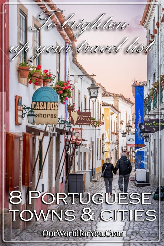 The pin image for our post - '8 Portuguese towns and cities to brighten up your travel list'