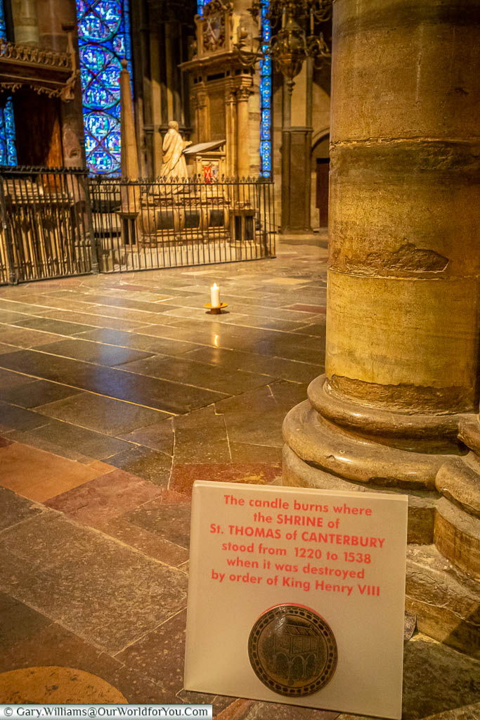 A candle stands on the spot in Canterbury Cathedral where St Thomas' shrine stood until destroyed under Henry VIII's orders.