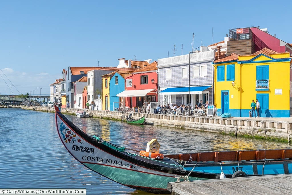 The front of a tradition Moliceiros boat in a quay in Aveiro, Portugal