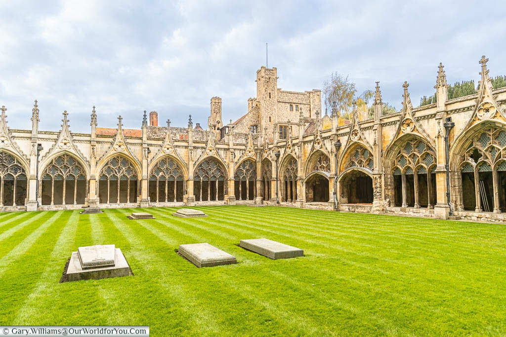 The view across the law to Canterbury Cathedral's cloisters