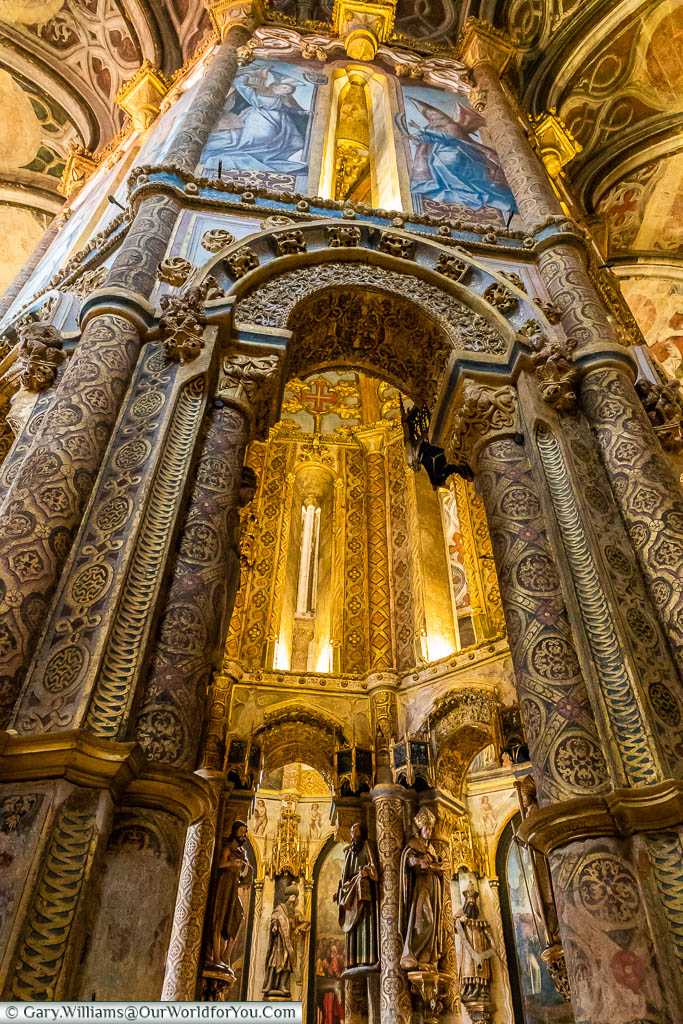 The intricate detail of the inner chapel of the Convent of Christ in Tomar, Portugal