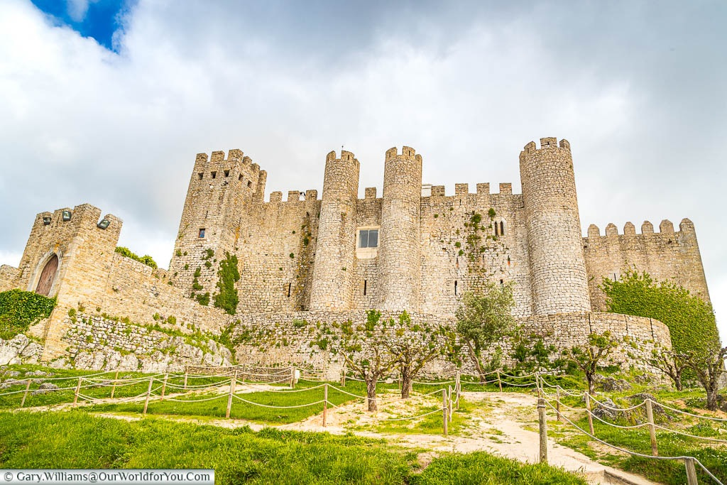 The well preserved medieval Obidos Castle on the edge of the old town