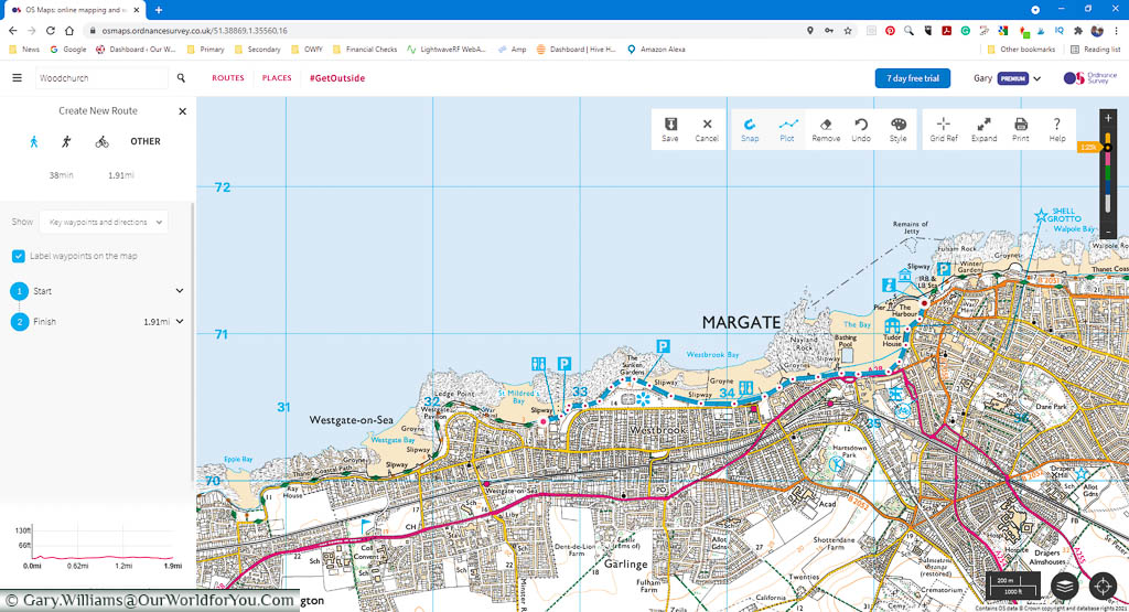 A desktop screenshot of our planned route from Westgate-on-Sea to Margate on the OSMaps