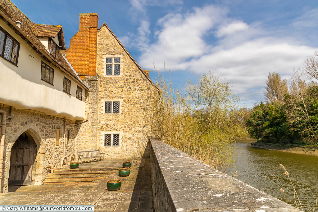 The Pilgrims' Hall and Watergate overlooking the River Medway at the Friars in Aylesford, Kent