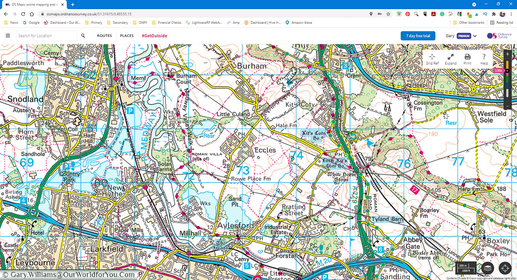 A desktop screenshot of the OSMaps apps 1:50k view of the area surround Eccles in Kent