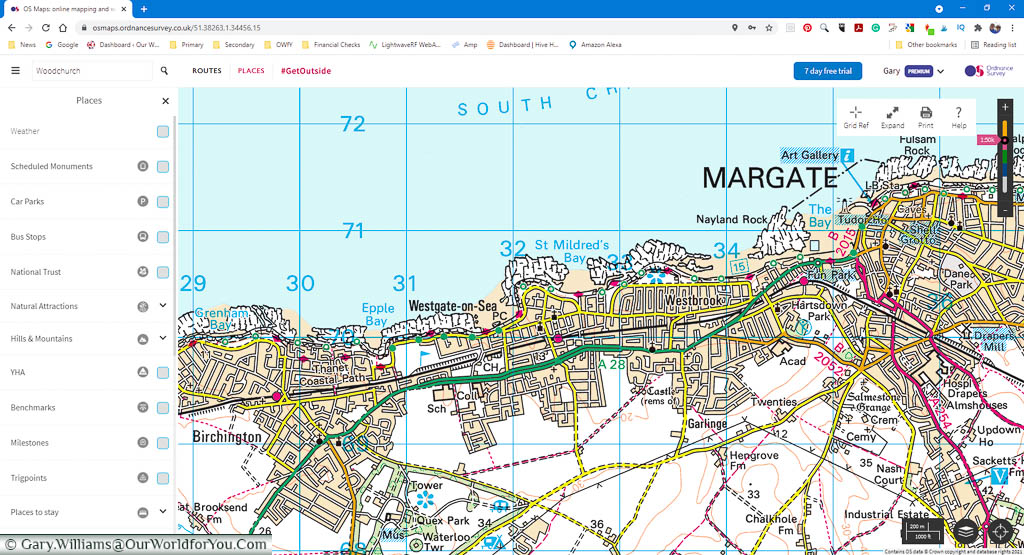 A desktop screenshot of the OSMaps apps 1:50k view of the coastline from Westgate-on-Sea to Margate in Kent