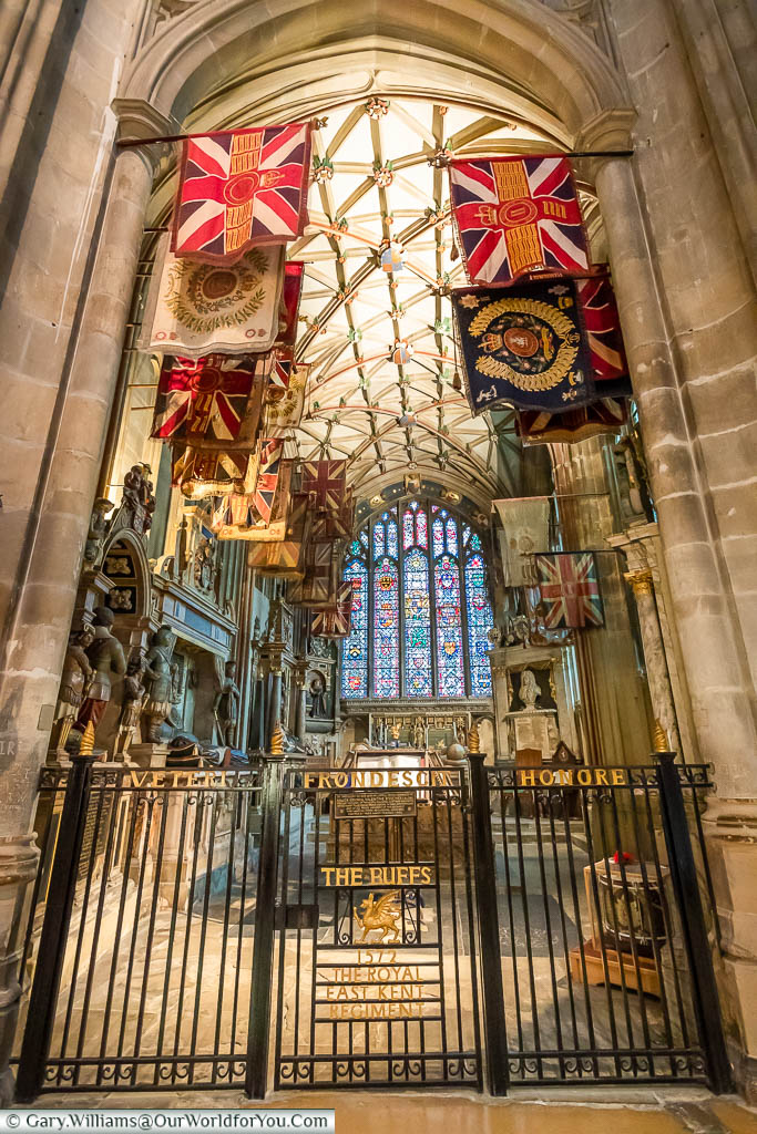 Regimental banners hanging in the Buffs chapel in Canterbury Cathedral