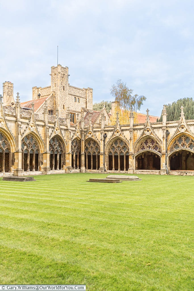 The corner of Canterbury Cathedral's cloisters