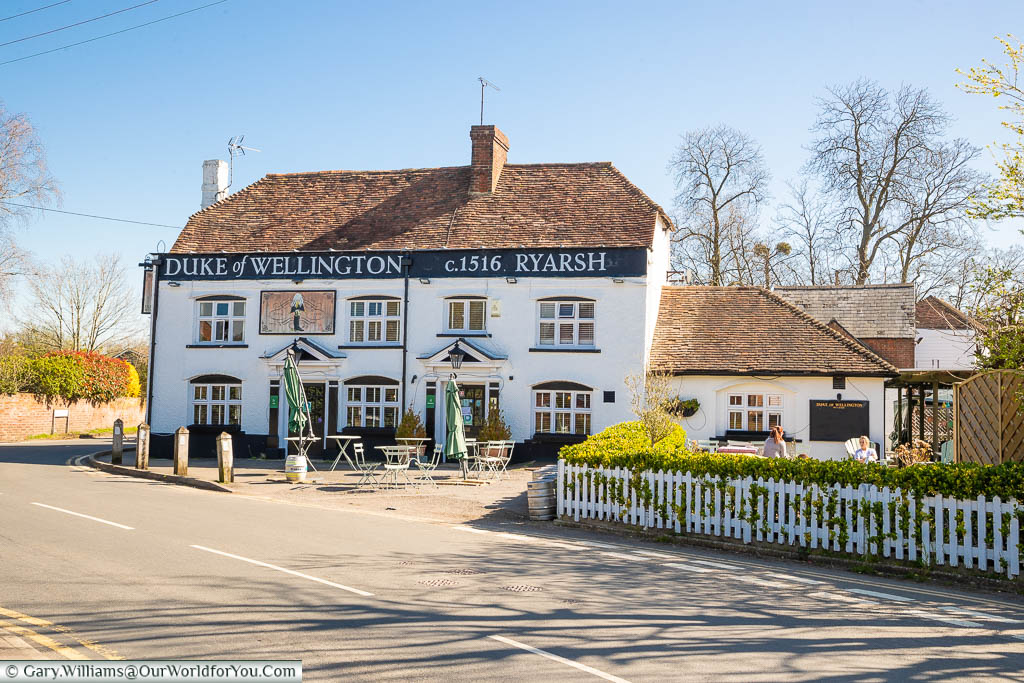 The historic 16th-century Duke of Wellington pub, next to the main road through the village of Ryarsh in Kent