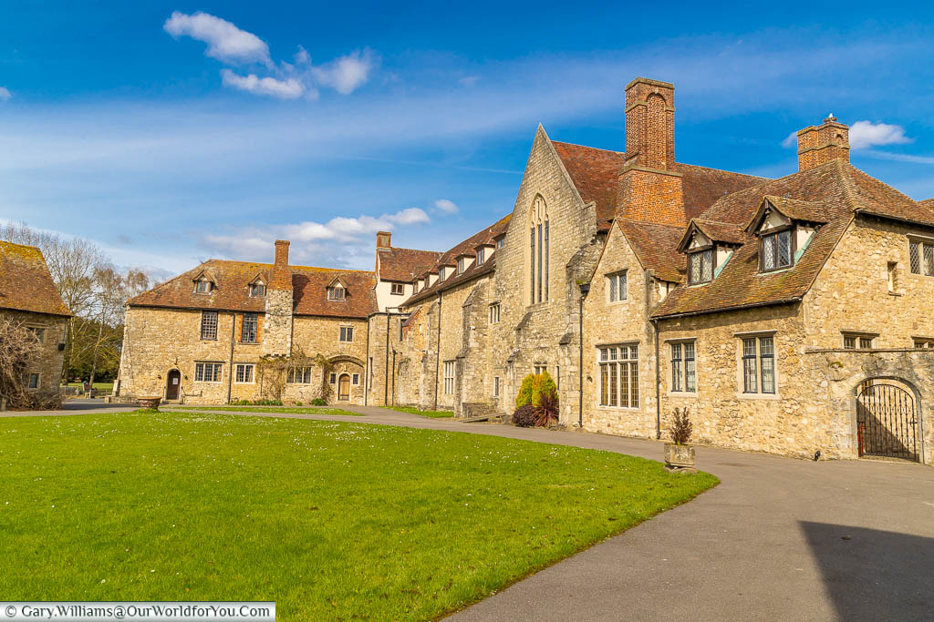 The medieval buildings that line the Great Courtyard in Aylesford Priory