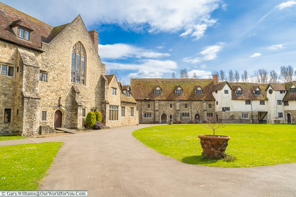 Historic buildings line the Great Courtyard in Aylesford Priory