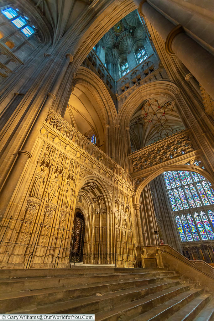 The ornate stonework of the quire screen in Canterbury Cathedral, Kent