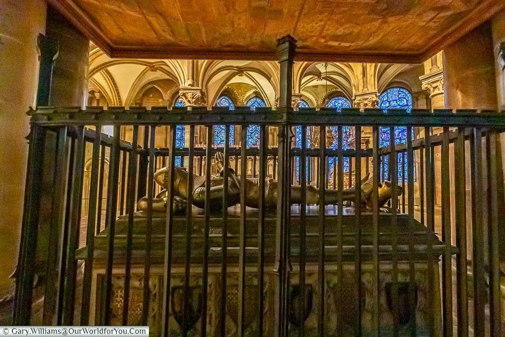 An image of the Tomb of the Black Prince surrounded by railings in Canterbury Cathedral