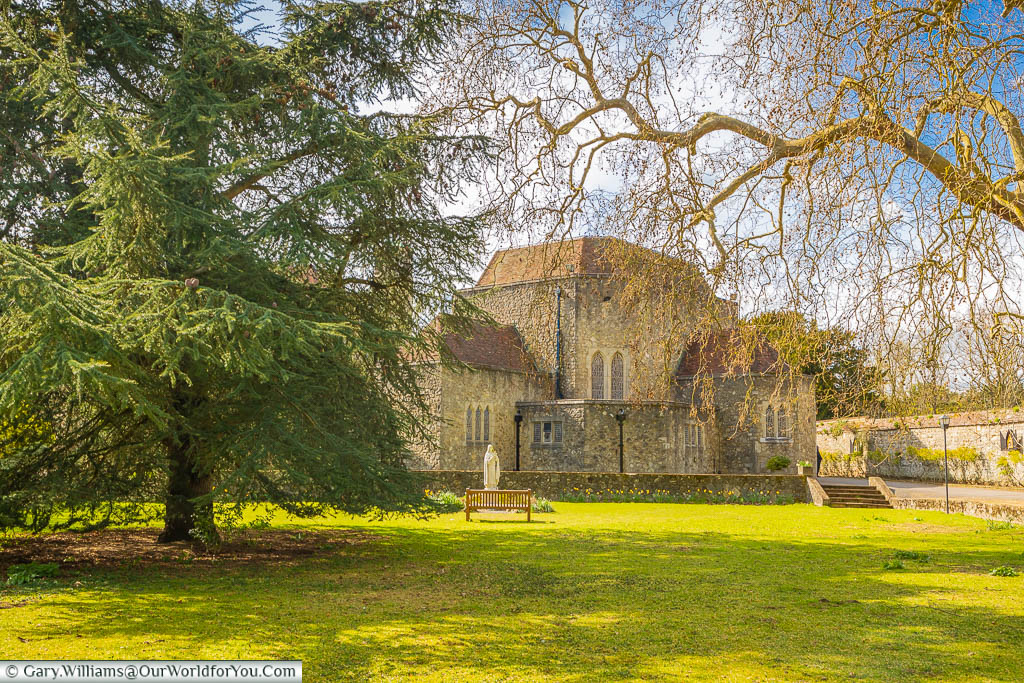 A view of Aylesford Priory from the tranquil gardens encapsulated by the Rosary Way