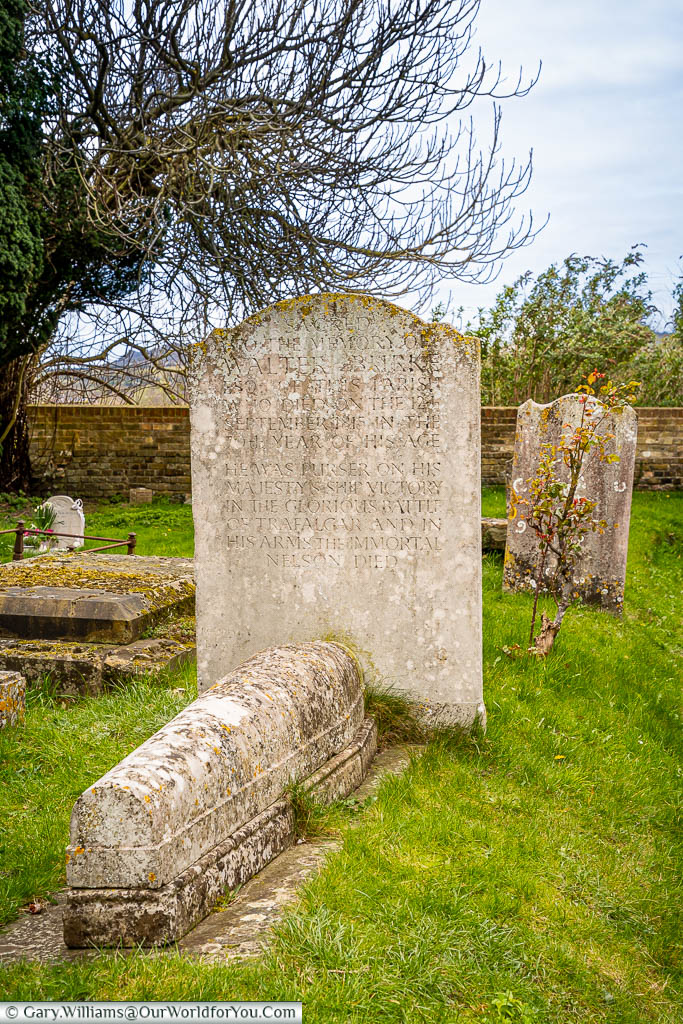 The headstone and stone sarcophagus of Walter Burke in the churchyard of All Saints Church, Wouldham