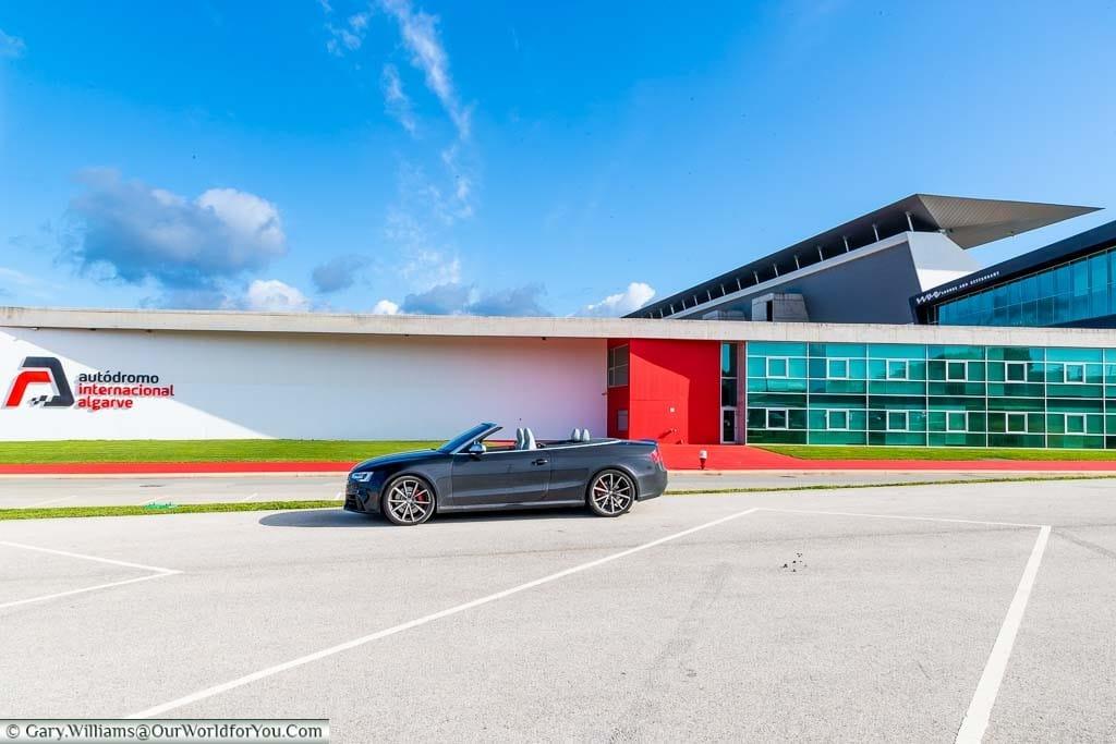 Our Audi convertible in the car park of the Autódromo Internacional do Algarve just outside Portimão, Portugal