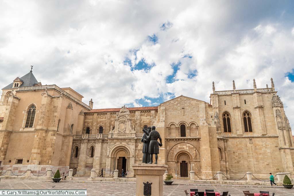 The stone facade to the Basilica of San Isidoro, León, Spain