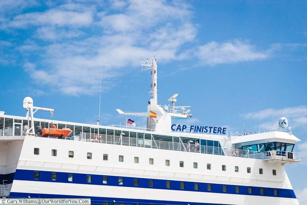 The top section of our Brittany Ferry, Cap Finistere, moored up in Bilbao, Spain