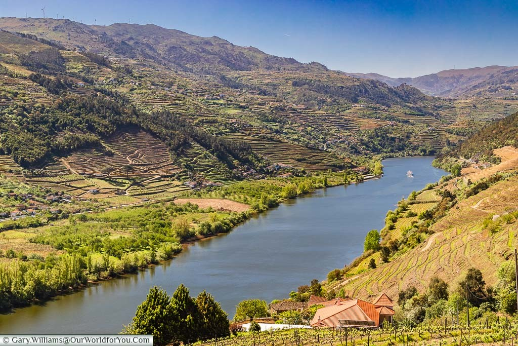A view over Portugal's UNESCO recognised Douro Valley with the river taking centre stage.