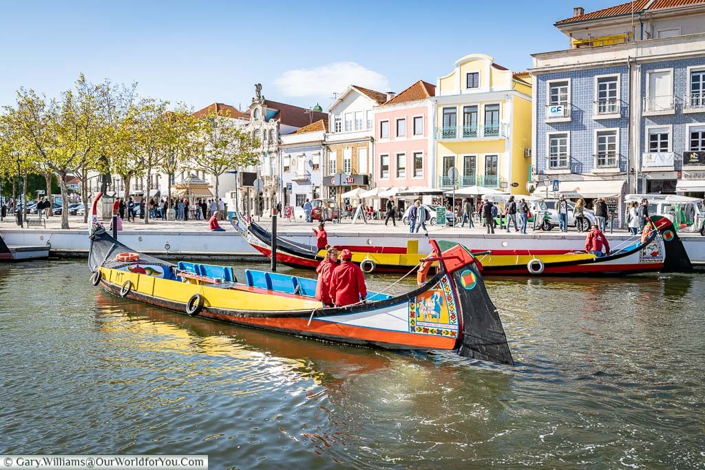 Wooden Portuguese barges once used to transfer salt have now been converted for tourist pleasure trips. A couple of these Brightly painted boats are now mooring up at the end of the working day in Aveiro, Portugal