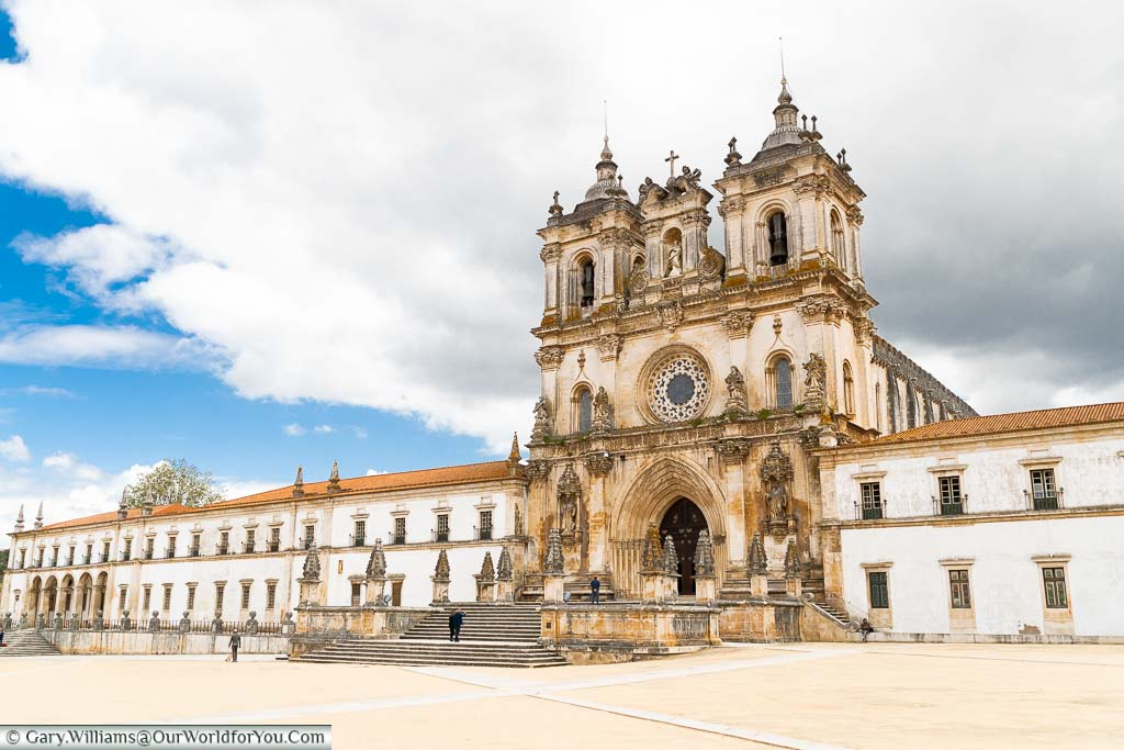 The facade of the Monastery of Alcobaça in central Portugal