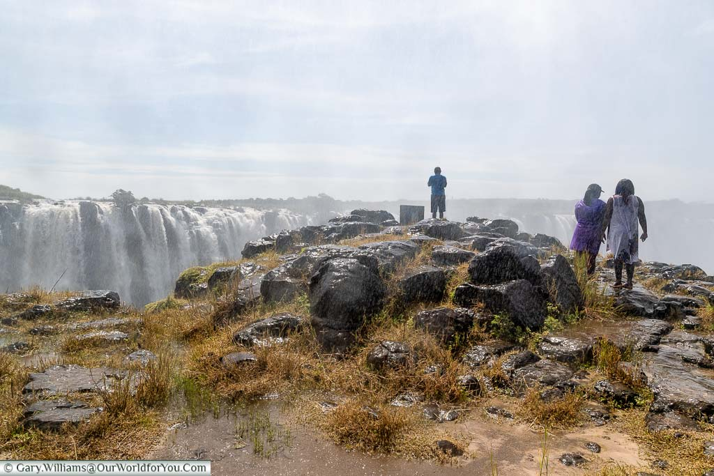 An outcrop of rocks that lead to another viewpoint over Victoria falls from the Zimbabwean side.