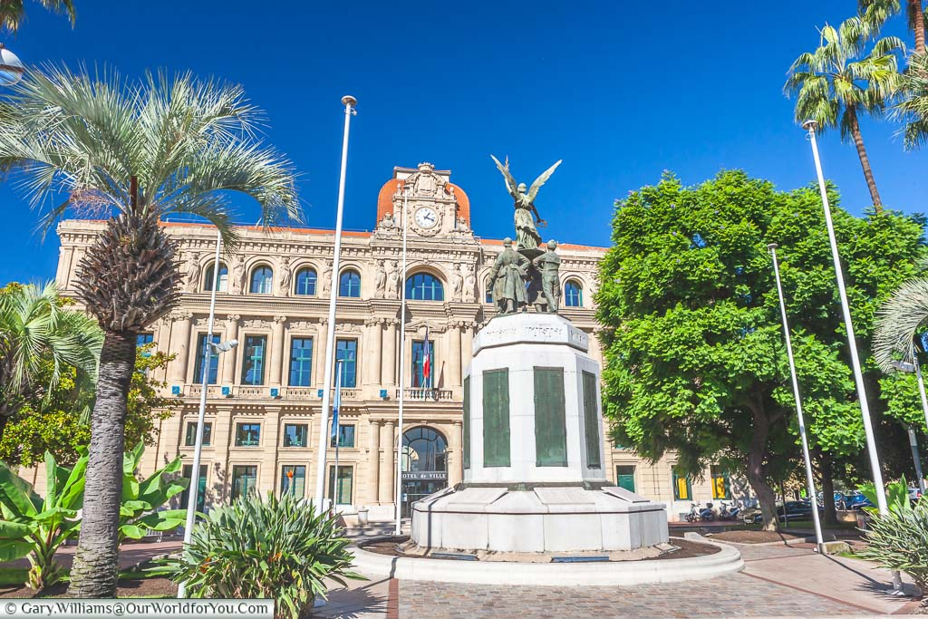 The war memorial in front of Cannes Town Hall on the Côte d'Azur, or the French Riviera
