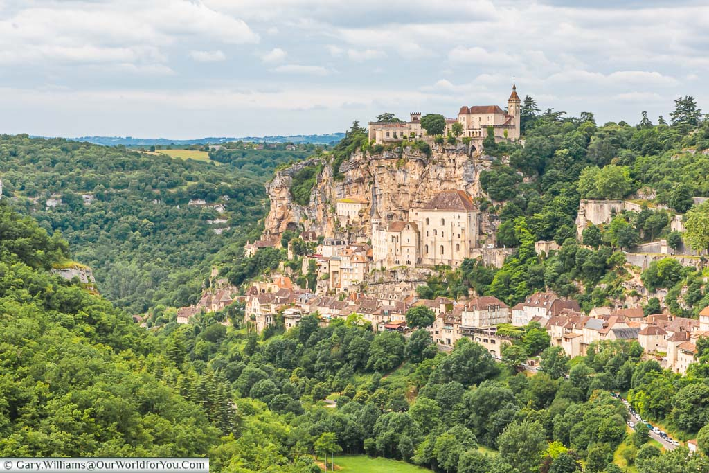 The medieval town of Rocamadour, built against a rockface and set in the French countryside.