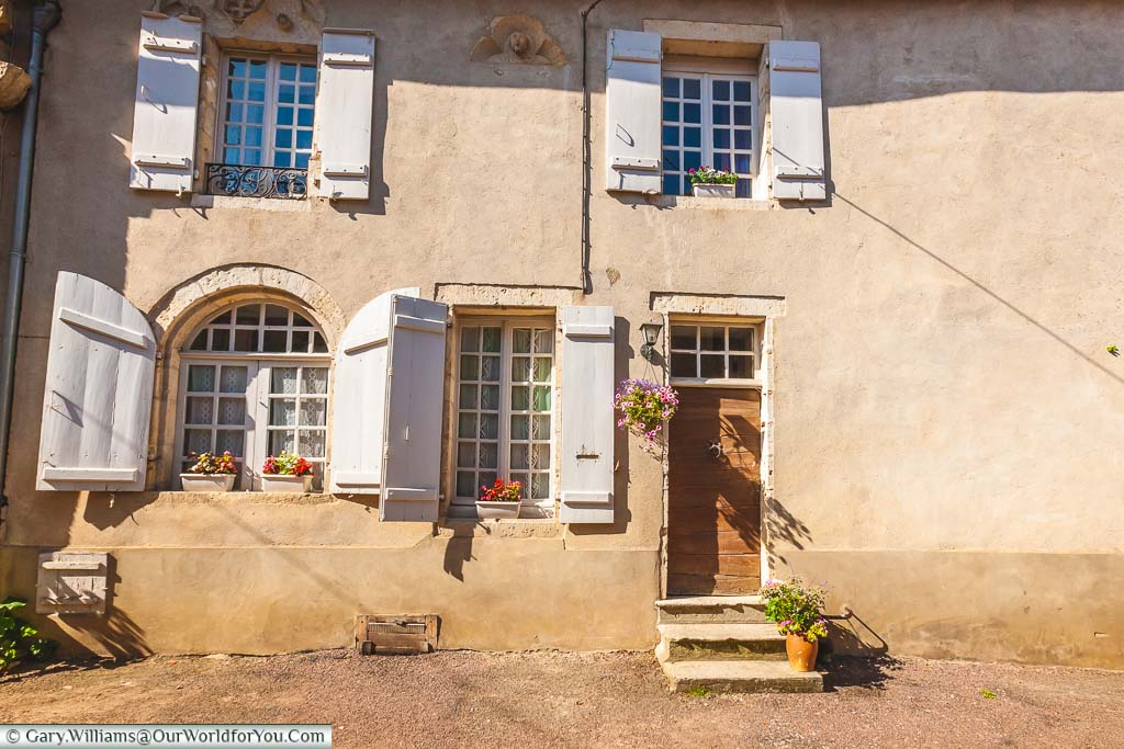 A quaint home, with its shuttered windows in the picturesque village of Flavigny-sur-Ozerain in the Côte-d'Or region of France