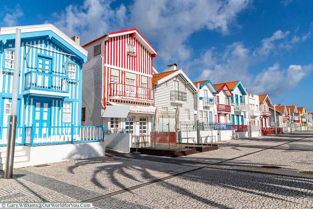 The stripped brightly coloured beach homes of Costa Nova on the Portuguese Coast.